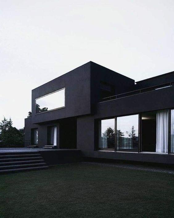 Rumah tingkat minimalis desain all in black, pinterest.com